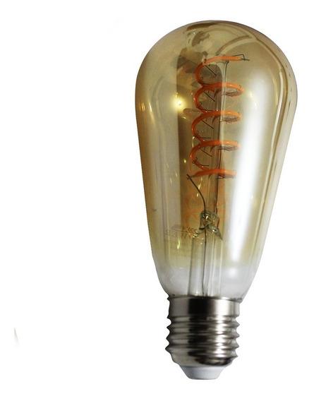 Lâmpada Led Quente Ambar Filamento 4w St64 Vintage Retrô