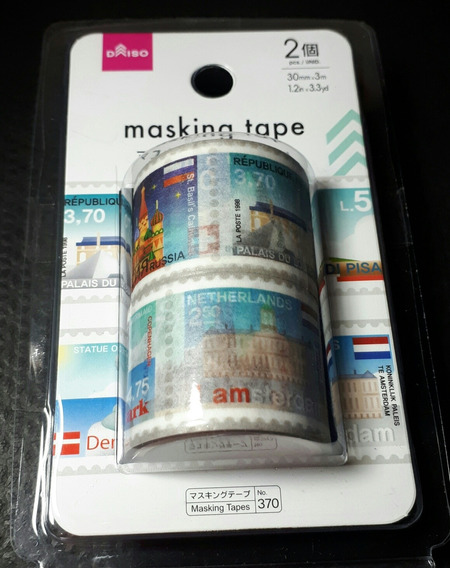 Jg C/2 Washi Tape Fita Adesiva Decorativa Sêlos Viagens 3m