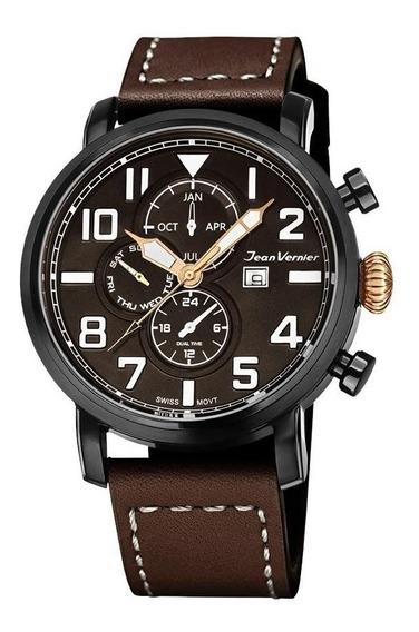 Relógio Jean Vernier Masculino Ref: Jv11531 Cronógrafo Black