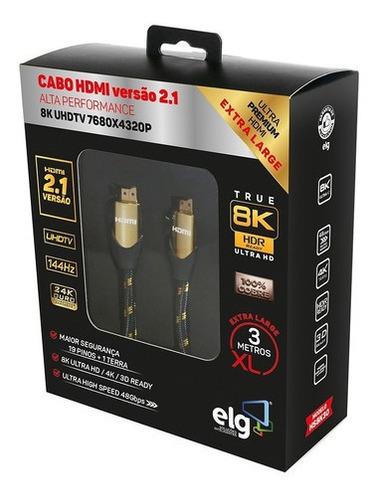 Imagem 1 de 5 de Cabo Hdmi 2.1 8k Ultra High Speed Ethernet 3 Mts Hs8k30 ELG