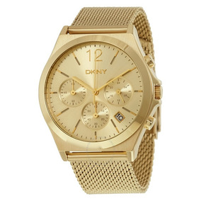 Relógio Luxo Feminino Dkny Donna Karan Dourado C/nf Ny2485