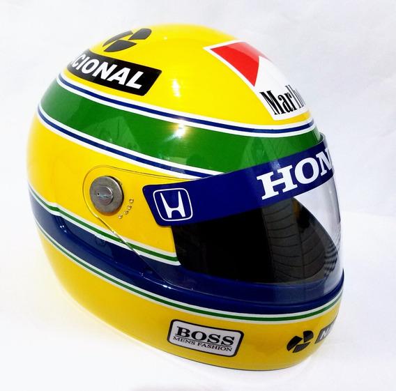 Capacete Ayrton Senna + Adesivos De Brindes!!