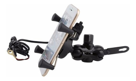 Suporte Gps Celular Garra Moto Universal Com Carregador Usb