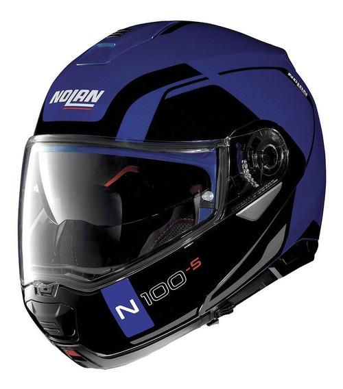 Capacete Nolan N100-5 Consistency Azul Fosco Escamoteavel