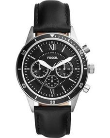Relógio Fossil Flynn Sport Preto Couro Masculino Bq2228