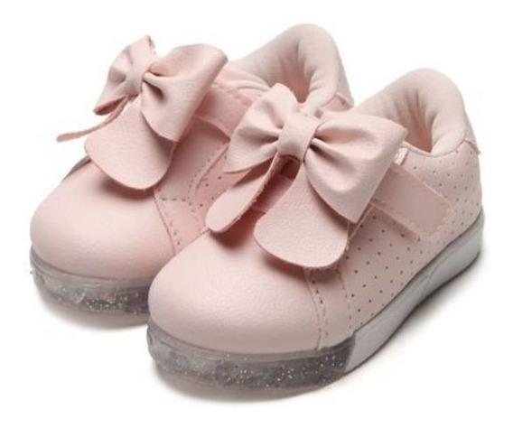 Tênis Pampili Infantil Baby Fun Laço Rosa Led