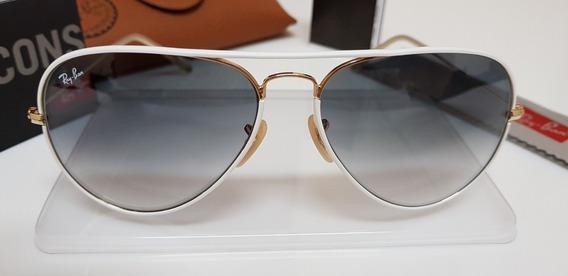 Óculos Sol Ray-ban Aviator Full Color Rb3026 148/32 Branco
