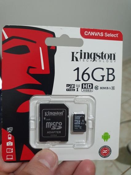 Cartão De Memoria Kingston Canvas Select Com Adaptador 16gb