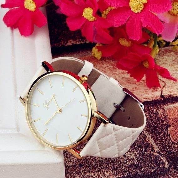 Relógio Feminino Quartzo Branco Pulseira Couro De Luxo