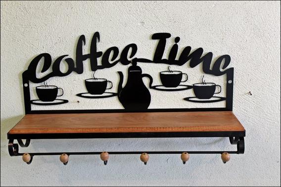 Prateleira Rustica De Ferro Coffe Time