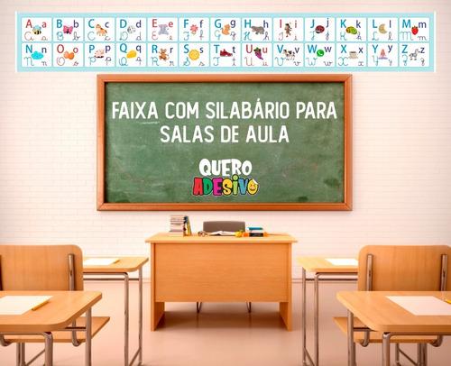 Imagem 1 de 2 de Faixa Alfabeto Educacional Lona Ou Adesivo -  1,50x0,21m