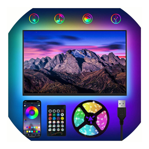 Imagen 1 de 7 de Tira De Luz Led Bluetooth Usb 2m 60 Led Rgb Remoto Control