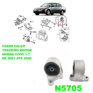 Coxim Calço Traseiro Do Motor Honda Civic 1.7 16v 2001 2006