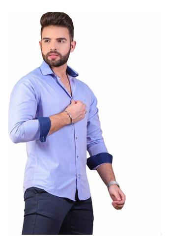 Imagem 1 de 2 de Camisas Social Masculina Slim Fit - P Ao Gg  + Brinde
