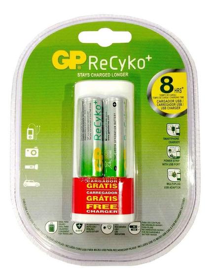2 Pilhas Gp Batteries Recarregáveis Aa + Carregador Usb