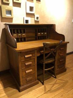Mueble Antiguo Roble Con Cortina
