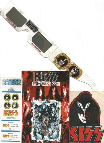Ingresso Kiss Psycho Circus 17 04 99 Flyer  Óculos Adesivo