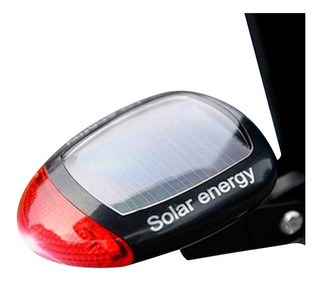 Luz Bicicleta Solar Baliza Trasera Recargable 2 Led Soporte A Caño Asiento