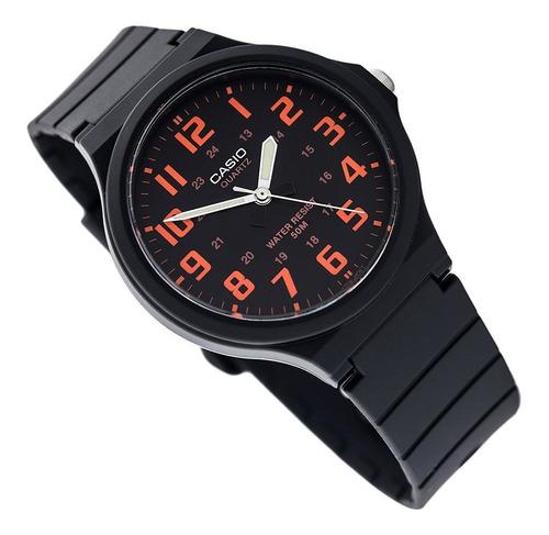Relógio Casio Masculino Mw-240 Preto Laranja Original