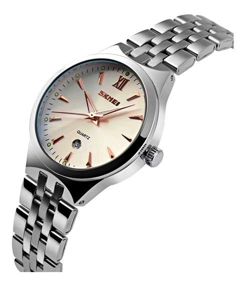 Relógio Prata Fundo Branco Claro Pequeno Feminino Calendário