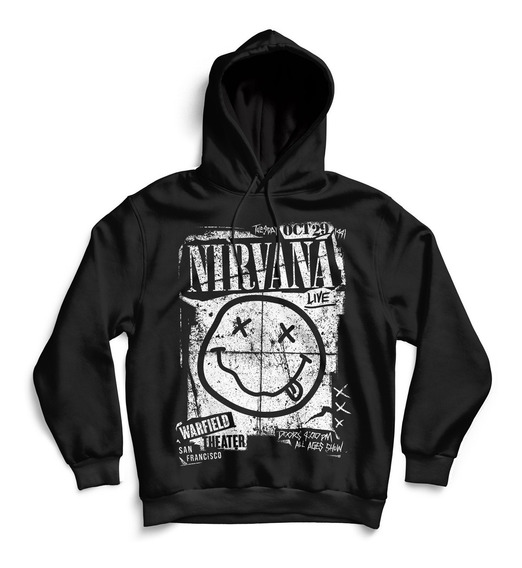 Hoodie Buzo Nirvana Concert Flyer Unisex Rock Activity