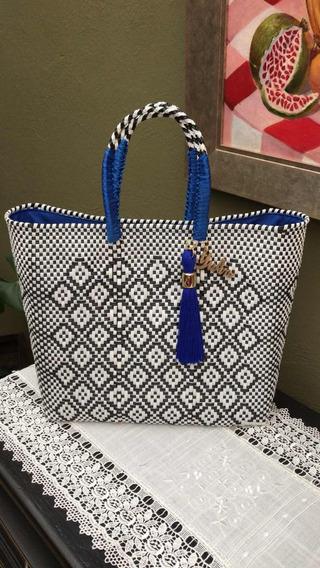 Bolsa M Blanca/negro, M/f/a Azul Rey