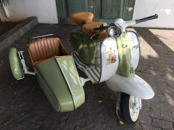 Lambretta Li 1965, Moto Antiga, Placa Preta, Side Car Fbva
