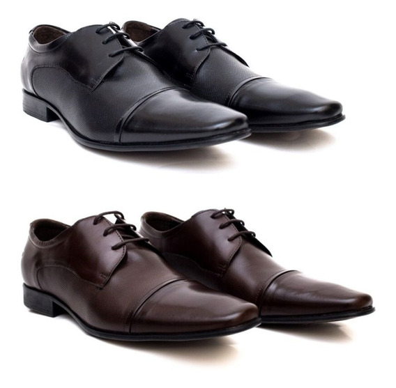 Sapatos Masculino Still Democrata Preto E Café 2 Pares