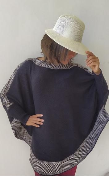 Poncho Blusa De Frio Feminino Fio Mousse Grosso Plus Size
