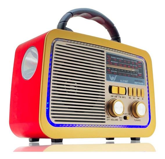 Rádio Retro Vintage Am Fm Usb Aux Sd Bluetooth Recarregável