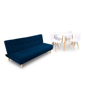 Sofa Cama Azul + Comedor Eames 4 Puestos Barthon