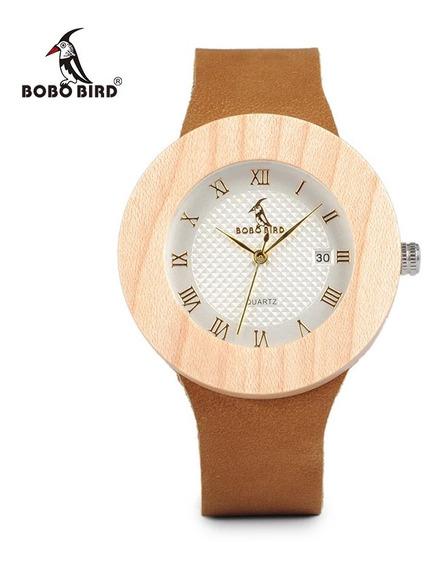 Relógio De Pulso Ecológico Feminino Madeira Bambu Bobo Bird