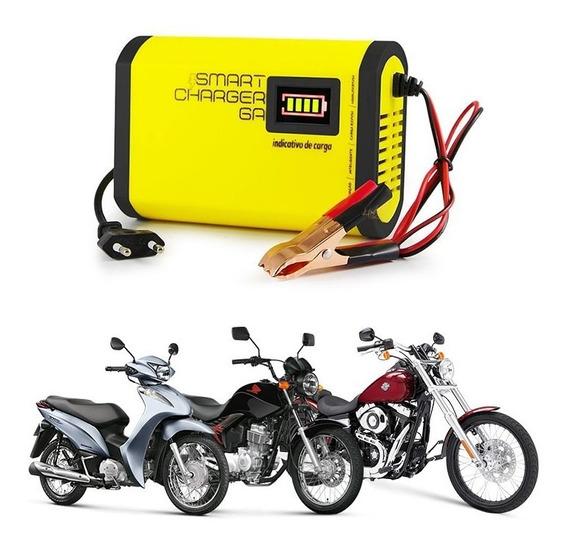 Carregador Bateria Moto 6ah Yamaha Honda Cg Biz Mini Bivolt