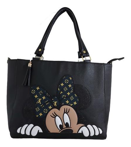 Imagen 1 de 8 de Bolsa De Mano  De Disney De Minnie Mouse  En Color Negro
