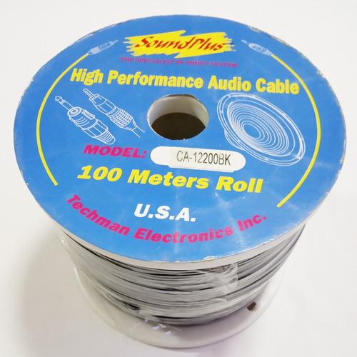 Cable Estereo Negro 2x2  Rollo De 100 Metros