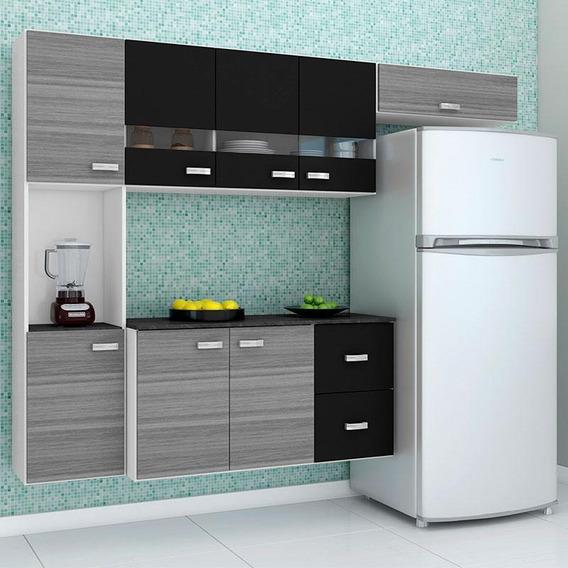 Cozinha Compacta Suspensa 4 Peças Julia - Poquema - Grigio /