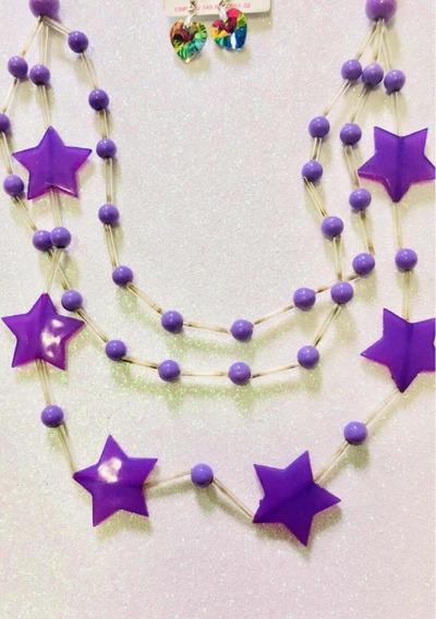 Maxi Colar Madrepérolas De Estrelas +brinco Coração Furtacor