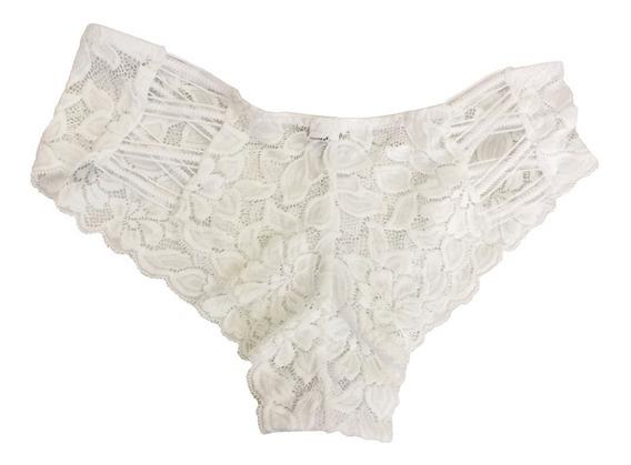 Calzón Blanco De Encaje Tipo Corset Lencería Sexy Traslúcido