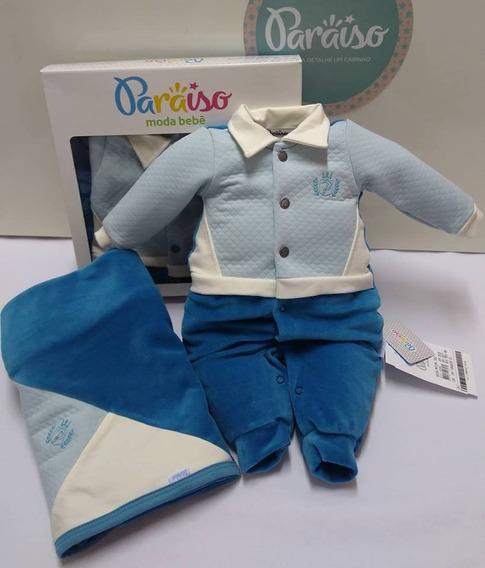 Saida Maternidade Bebê Menino Paraiso Plush Macacao Ref 7951