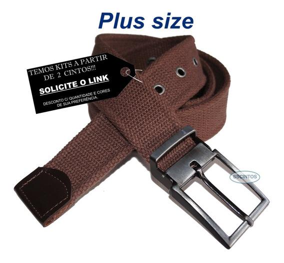 Cinto Plus Size Lona Premium 4cm Fiv C/ Regulagem L49 Bco 02