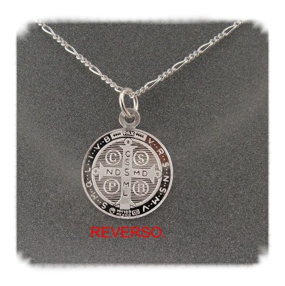 Medalla De San Benito Grande En Plata Fina 0.999