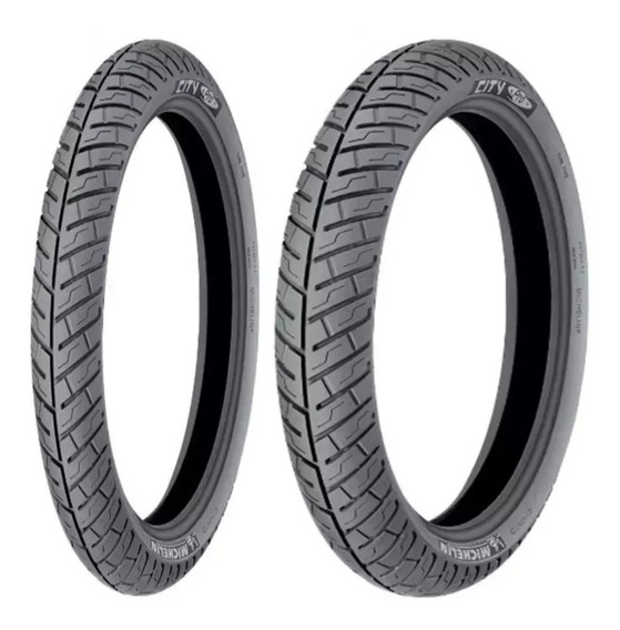 Par Pneu 3.50-16+ 80/100-18 Michelin (uso Sem Camara)
