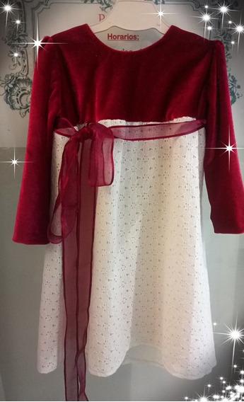 Vestido De Fiesta Para Niña , Terciopelo Bordeaux, Nuevo.