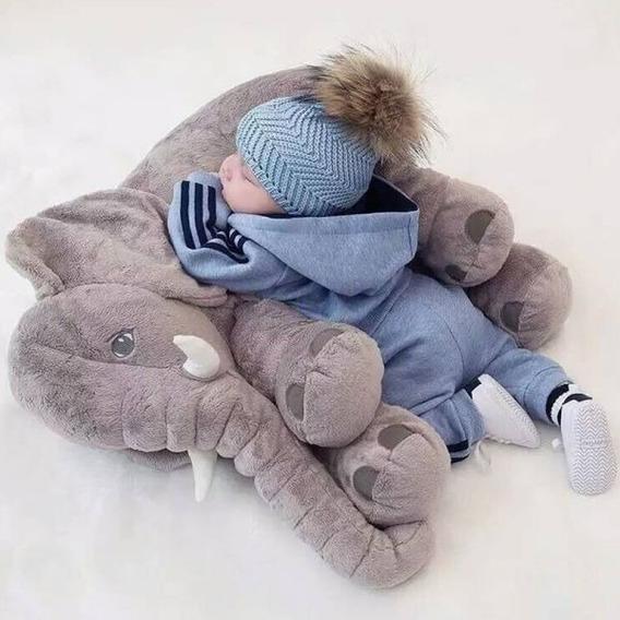 Almofada Elefante Pelúcia 60c Travesseiro Bebê Recém Nascido