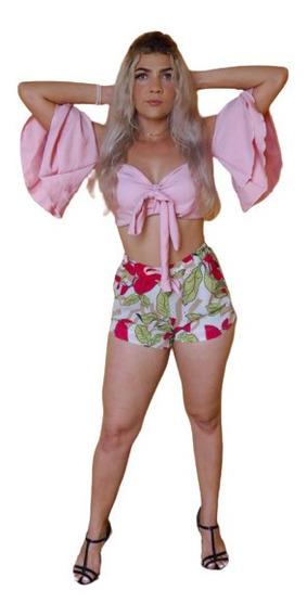 Conjunto Listrado Short E Blusa Crepe Casual Roupas Luxo Top