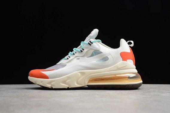 Tênis Nike Air Max 270 React Branco+laranja #prontaentrega#