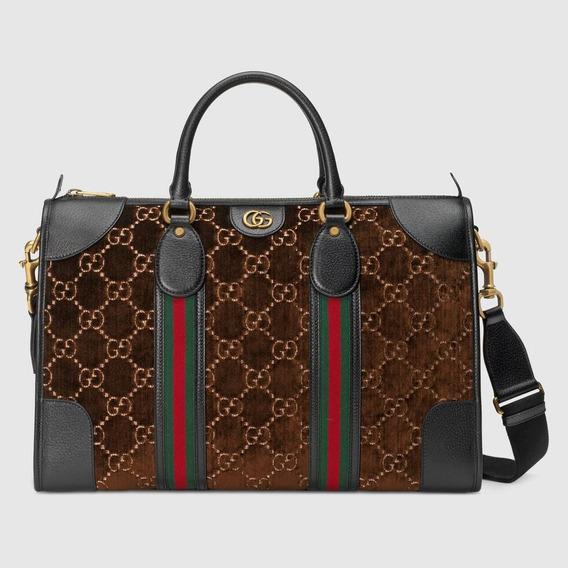 Bolsa Gucci Gg Duffle Veludo Média Masculina Lançamento 2019