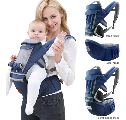 Portador Ergonômico De Bebê Bolsa Canguru 3 Em 1 Azul Água