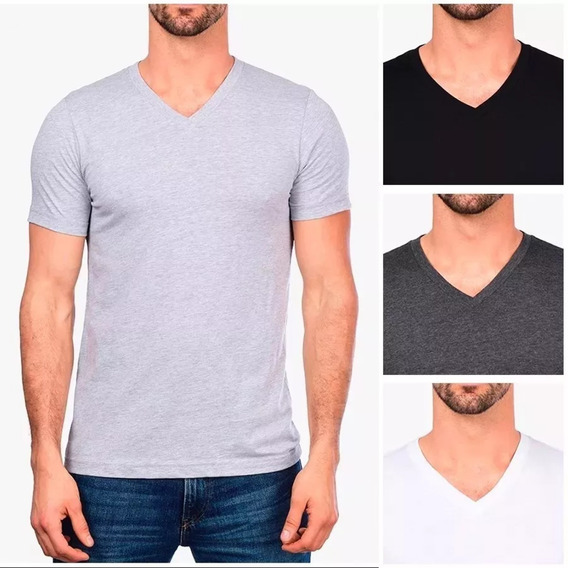 Kit 10 Camisetas Gola V Masculina Básica Lisa Algodão Blusa