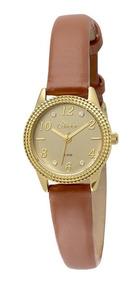 Relógio Condor Feminino Co2035ksd/3d Dourado Couro Marrom
